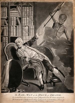 view A gouty man startled by death; represented as a skeletal figure wielding an arrow. Mezzotint, 1794.