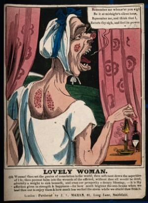 view A carbuncled woman retiring to bed; creating a satirical figure of female vanity. Coloured wood engraving.
