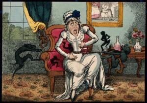 view A woman suffering the pain of cholic ; illustrated by demons tugging on a rope wound around her stomach. Coloured etching after G. Cruikshank after Captain F. Marryat.