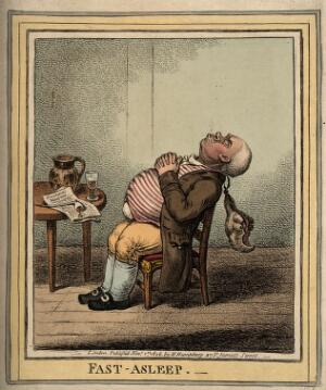 view A man fast asleep with his head back and wig dangling. Coloured etching by J. Gillray, 1806.