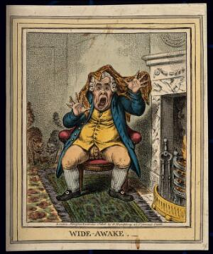 view A man suddenly awakened by two squalling cats. Coloured etching by J. Gillray, 1806.