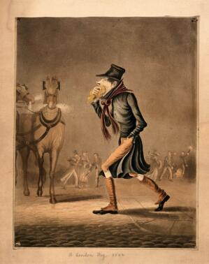 view A man covering his mouth with a handkerchief, walking through a smoggy London street. Coloured aquatint.