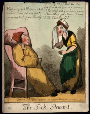 view An ill man in cap and gown with a crying woman before him. Coloured engraving, 1800.
