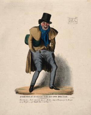 view A man with flushed cheeks, perhaps from fever or alcohol. Coloured lithograph by C.J. Grant, 1831.
