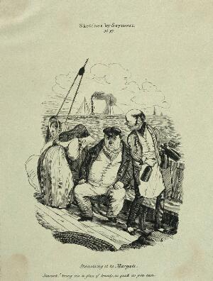 view People suffering from seasickness on board a steam boat. Reproduction of an etching after R. Seymour.