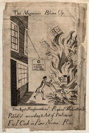 view A man throwing various magazines onto a bonfire. Line engraving.