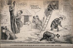view London Board of Health searching the city for cholera during the 1832 epidemic. Lithograph, 1832.