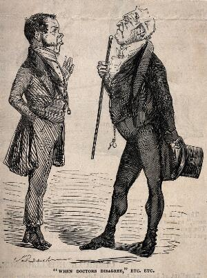 view Two doctors aloof from one another in disagreement. Wood engraving after J. Leech.