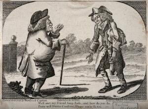view Two doctors meeting, in a country setting. Engraving.
