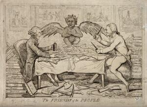 view The republican solidarity of Joseph Priestley and Thomas Paine; indicated by the grinning devil that links them. Etching by I. Cruikshank, 1792.