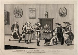 view A young man, in the presence of his father, is examined by an academic for admission to university. Etching by J. Williams, 1772, after H.W. Bunbury.