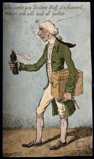 view Henry Addington, Lord Sidmouth, holding a bottle of medicine. Coloured etching by C. Williams, 1807.