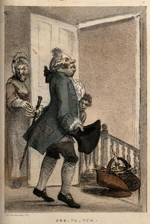 view A doctor exacting payment for a house-call from a disgruntled patient. Lithograph after H.W. Bunbury.
