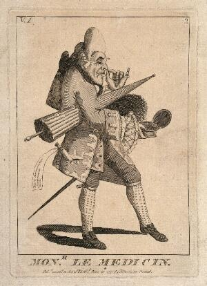view A French physician. Engraving by M. Darly, 1771.