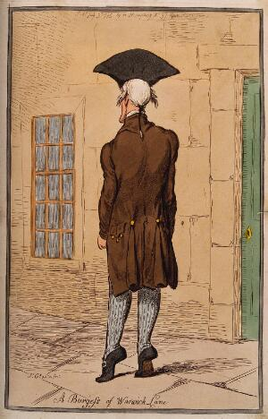 view Dr. John Burges, on tiptoe outside a building in Warwick Lane. Coloured etching by J. Gillray, 1795.