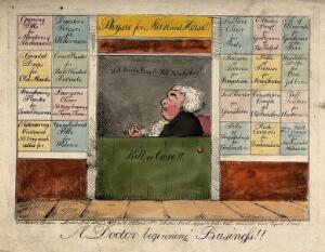 view Quack doctor open for business. Coloured etching by G.M. Woodward, 1802.