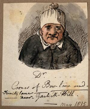view A doctor in a strange hat. Watercolour, 1815.