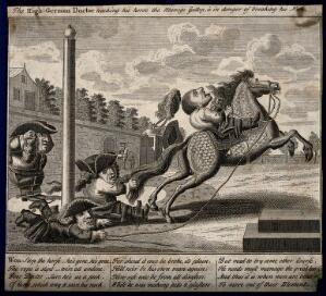 view A Dutch quack doctor out of his depth on a spirited horse; implying his medical limitations. Engraving.