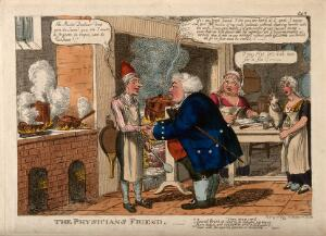 view An obese doctor acknowledging the favours of a French chef in his kitchen; denoting their complicity, the chef's food providing patients. Coloured etching by C. Williams, c. 1815.