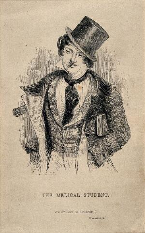 view A foppish medical student smoking a cigarette; denoting a cavalier attitude. Wood engraving by J. Orrin Smith after J. Kenny Meadows.