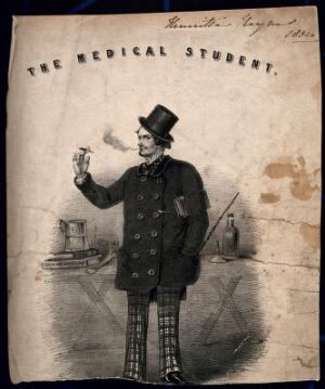 view A foppish medical student smoking a cigarette, a tankard is on top of his medical books; denoting a cavalier attitude. Lithograph, 1854.