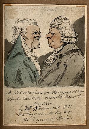 view Two men, one with an exaggerated chin, the other with a large nose. Coloured pen drawing attributed to G.M. Woodward.