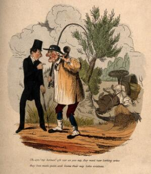 view A man attempting to alert a deaf farmer using an ear trumpet as to the plight of his horses and cart. Coloured etching.
