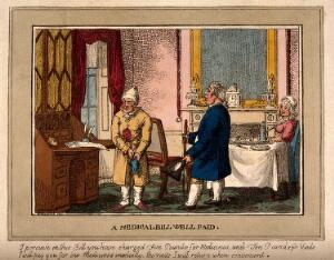 view A doctor and his patient talking at cross purposes. Coloured etching by C. Williams, 1823.