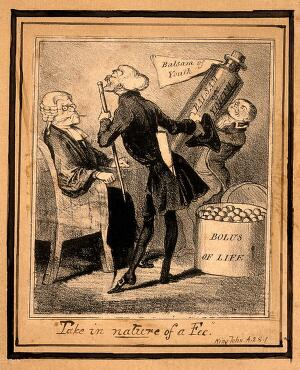view A doctor trying to sell youthfulness potions to an elderly lawyer. Lithograph.