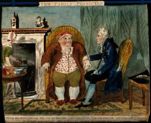 view An obese man consulting a doctor. Coloured etching.