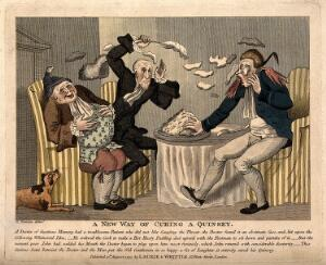 view A doctor and footman hurling pudding at each other in an attempt to make the obese patient laugh in order to cure his quinsey. Coloured engraving by R. Newton, 1797.