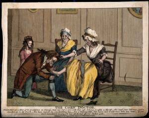 view A woman withdrawing her foot in outrage from a clumsy chiropedist. Coloured engraving, 1793.