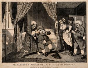 view A doctor being tricked into drinking his own medicine. Engraving, 1784.