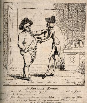 view A butcher threatening a doctor with revenge for poisoning his wife. Etching by J. Kent, 1782, after P.V.