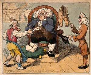 view Court hearing of a dispute in which a doctor refuses to pay his tailor for some highly unsatisfactory breeches. Coloured etching by T. Rowlandson, 1802, after G.M. Woodward.