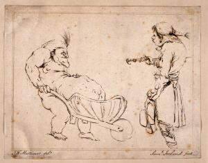 view A grossly obese man supporting his stomach in a wheelbarrow, a young fop looks on. Etching by S. Ireland, 178-, after J.H. Mortimer.