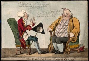 view A doctor reprimanding an obese patient for not taking his medicine. Coloured etching by I. Cruikshank, 1797.