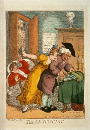 view An aged anatomist selecting his dissection instrument whilst a young woman tries to warn that his subject is alive. Coloured etching by T. Rowlandson, 1811.
