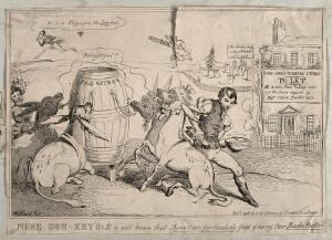 view Four donkeys inhaling foetid gas and having their backs scrubbed with vitrol; representing John St. John Long's fatal method of therapy. Etching by H. Heath, 1830.