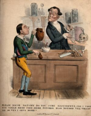 view A boy requesting an anatomist to mend his broken jug. Coloured lithograph.