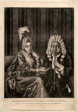 view A lecherous doctor taking the pulse of an attractive young woman. Mezzotint, 1772.