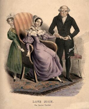 view A baffled doctor taking the pulse of a love-sick young woman, her maid slips a billet-doux secretly into her hand. Coloured lithograph.