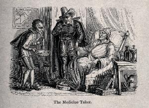 view A doctor taking the pulse of a grave looking patient, his servant holds a bottle and bowl. Reproduction of a wood engraving.