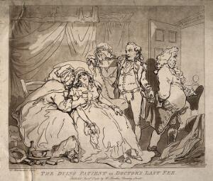 view A female patient dying in the arms of her family, an unhappy doctor leaves the room realising it is his final payment. Aquatint by T. Rowlandson, 1786.