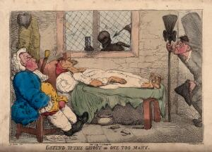 view A physician by his patient's death-bed; represented with a skeletal death figure at the window and an undertaker's assistant arriving with a coffin. Coloured etching by T. Rowlandson, 1813?, after R. Newton.