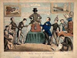 view Benjamin Harrison, autocratic treasurer of Guy's hospital, backing the gross nepotism of Sir Astley Cooper. Coloured lithograph by R. Cruikshank?, 1830?.