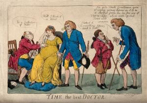 view A group of physicians wrongly diagnosing the case of a pregnant woman. Coloured etching by I. Cruikshank, 1803.