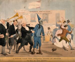 view A group of doctors parade a dummy with a skeleton's head representing cholera: a group of people run screaming from it.