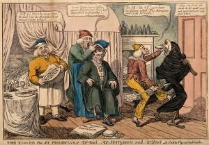 view Three doctors representing diet, cheerfulness and rest, defend their patient from death. Coloured etching by C. Williams, 1813.