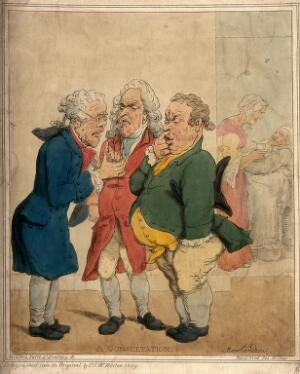 view Three doctors in close discussion, their patient being nursed in the next room. Coloured lithograph by C.J. Winter, 1869, after T. Rowlandson.